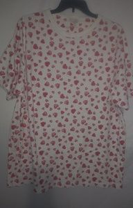 VS Country Creme Red Hearts Nightshirt Sz L